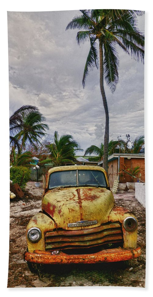Old Yellow Truck Beach Towel featuring the photograph Old Yellow Truck Florida by Garry Gay