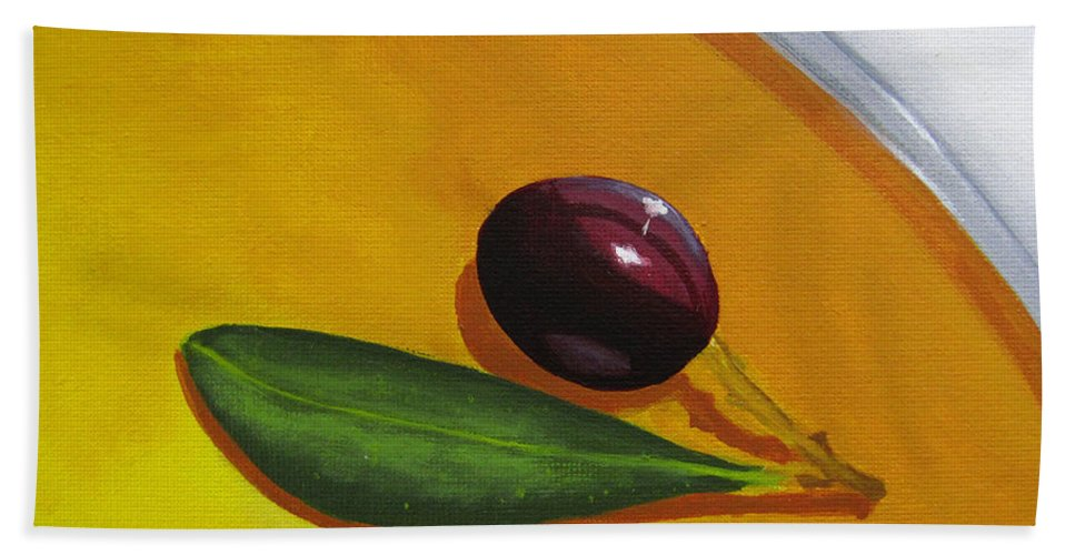 Yellow Beach Towel featuring the painting Olive In Olive Oil by Kayleigh Semeniuk