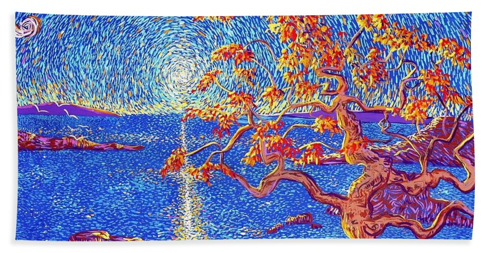 Landscape Beach Towel featuring the painting On Our Way by Stefan Duncan