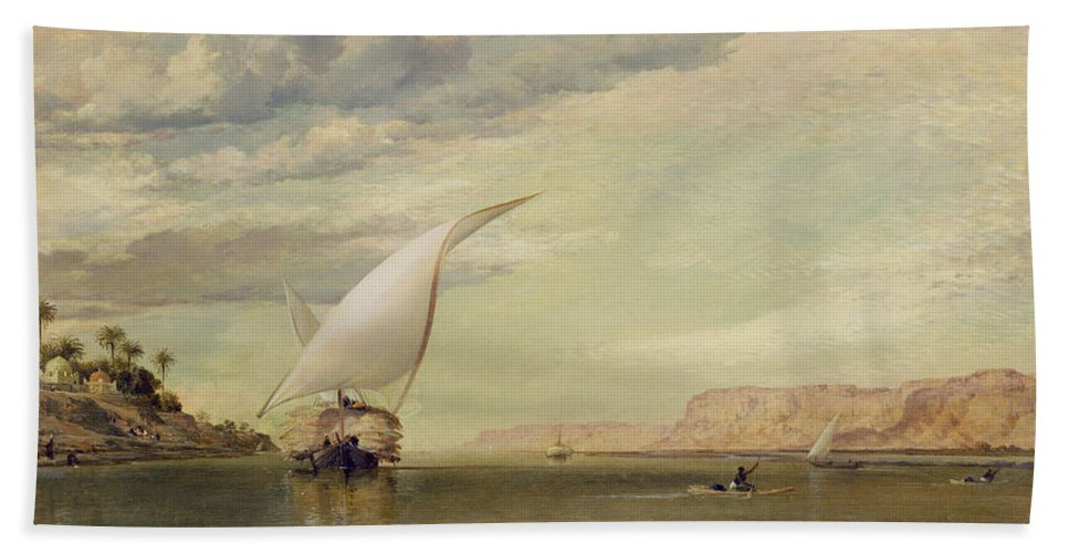 Xyc158767 Beach Towel featuring the photograph On The Nile by Edward William Cooke