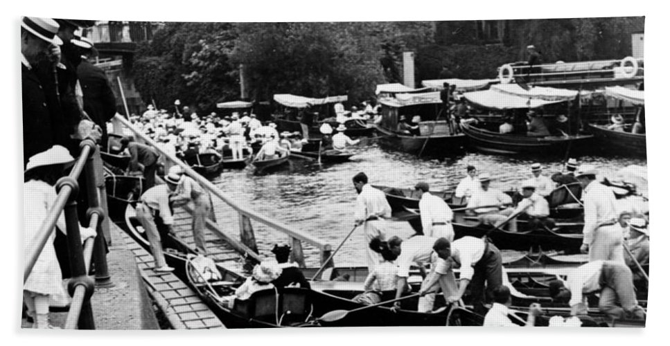 river Thames Beach Towel featuring the photograph On The River Thames - Waiting For The Locks To Open - C 1902 by International Images