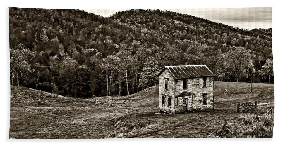 West Virginia Beach Towel featuring the photograph Once Upon A Mountainside Sepia by Steve Harrington
