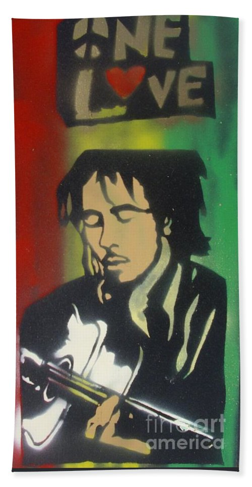 Hip Hop Beach Towel featuring the painting One Guitar by Tony B Conscious