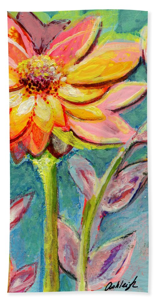 Flower Beach Towel featuring the painting One Pink Flower by Ashleigh Dyan Bayer