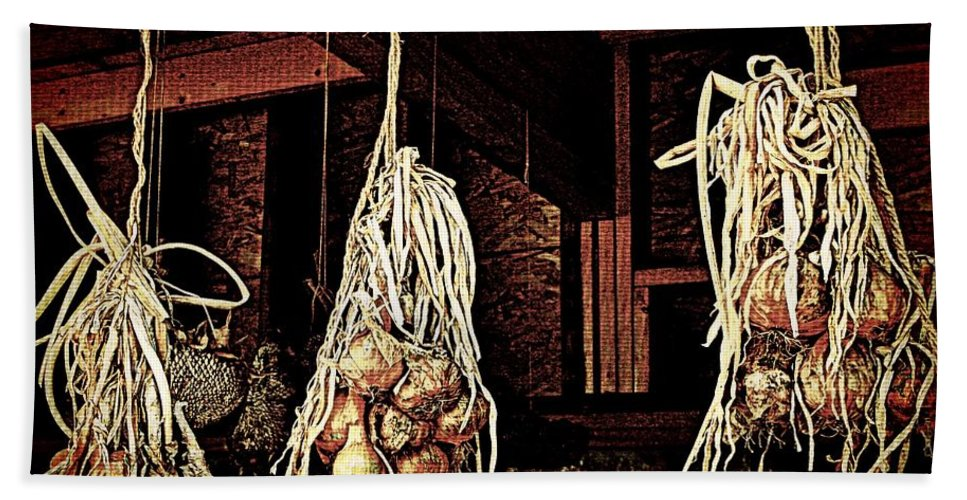 Nature Beach Towel featuring the photograph Onions Drying by Chris Berry