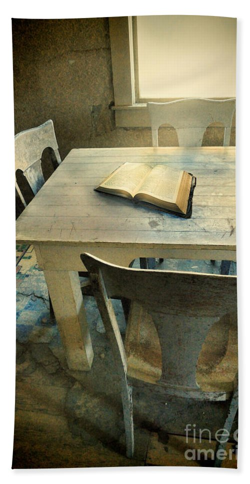Kitchen Interior Beach Towel featuring the photograph Open Book On Old Table by Jill Battaglia