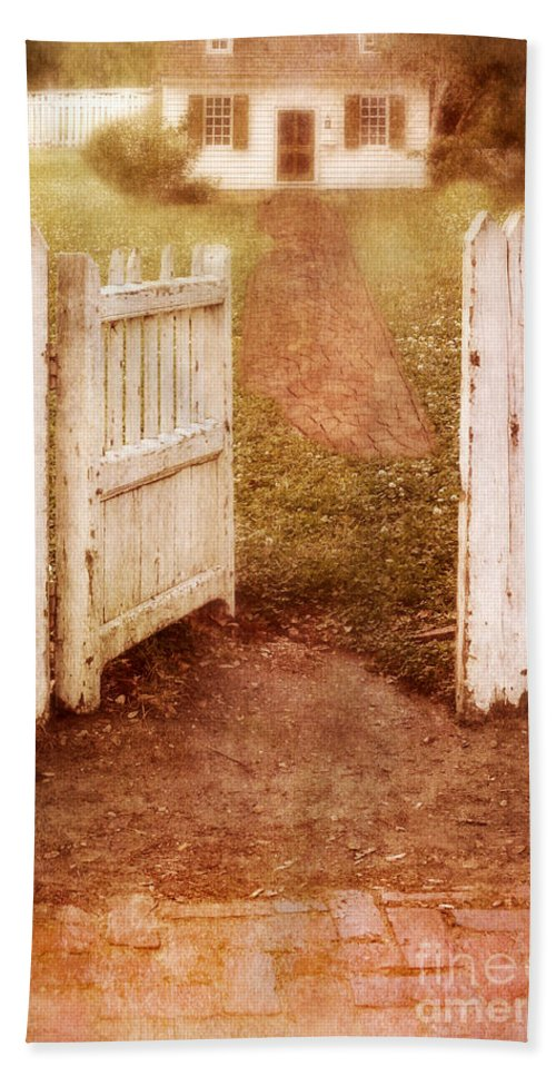 House Beach Towel featuring the photograph Open Gate To Cottage by Jill Battaglia