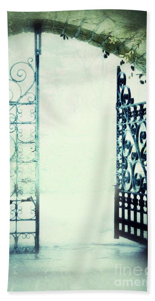 Gate Beach Towel featuring the photograph Open Iron Gate In Fog by Jill Battaglia