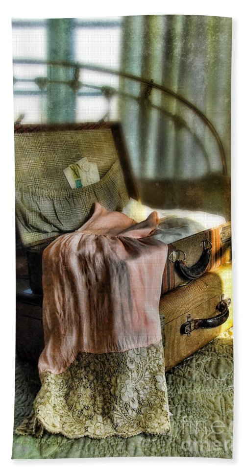 Suitcase Beach Towel featuring the photograph Open Vintage Suitcase With Letter And Lace by Jill Battaglia