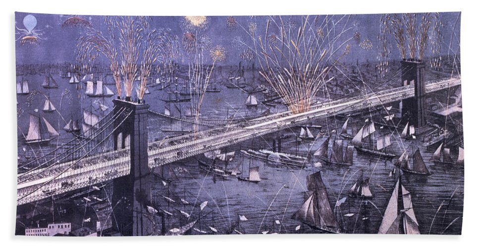 A Birds-eye View Of The Great New York And Brooklyn Bridge And Grand Display Of Fire Works On Opening Night Beach Towel featuring the painting Opening Of The Great New York And Brooklyn Bridge And Grand Display Of Fire Works by American School