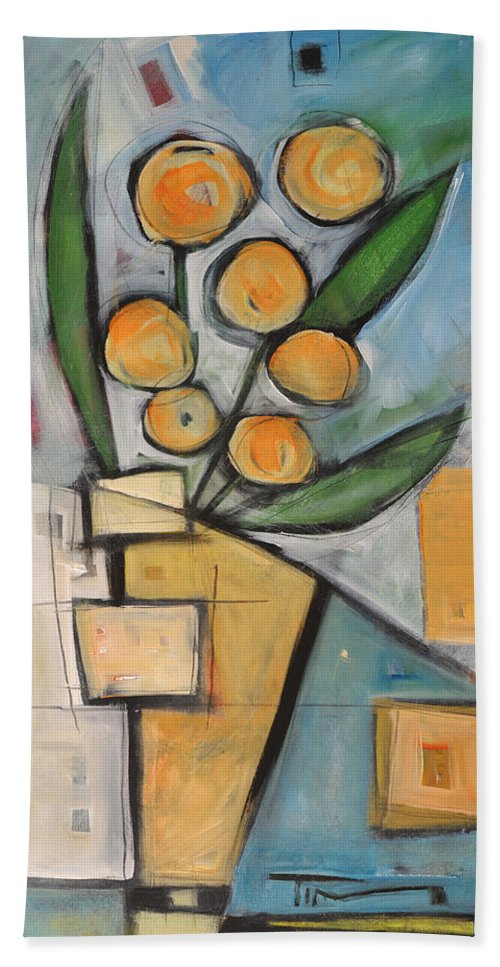 Flower Beach Towel featuring the painting Orange Blossom Special by Tim Nyberg
