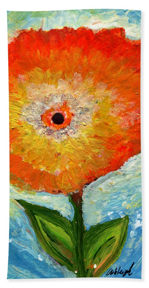 Flower Beach Towel featuring the painting Orange Flower Pop by Ashleigh Dyan Bayer