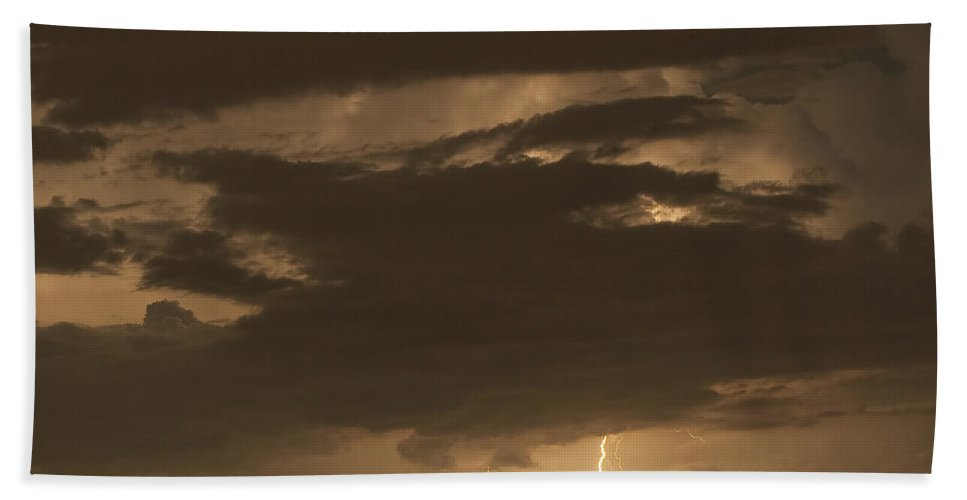 Lightning Beach Towel featuring the photograph Orange Lightning by Stephen Whalen
