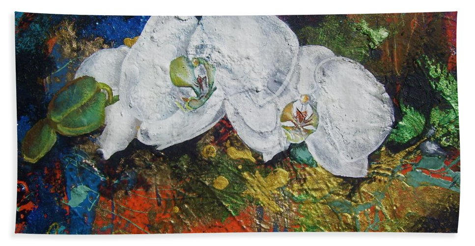 Orchid Beach Towel featuring the painting Orchid Mini by Laura Pierre-Louis