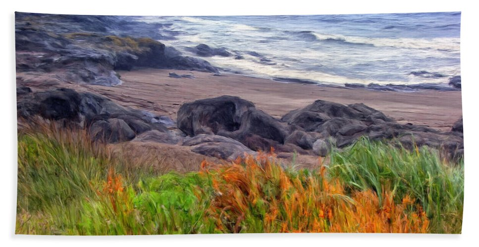 Oregon Beach Towel featuring the painting Oregon Coast Wildflowers by Dominic Piperata