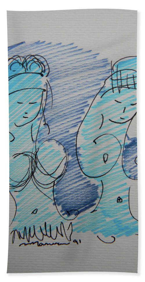 Strip Beach Towel featuring the drawing Original Sketch For The Stripper's Mirror by Marwan George Khoury