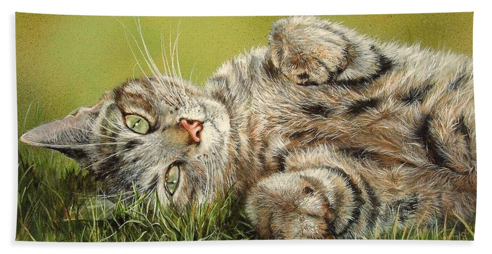 Mammal Beach Towel featuring the painting Oscar by Penny Golledge