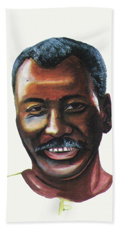 Portraits Beach Towel featuring the painting Oumar Souleymane Cisse by Emmanuel Baliyanga