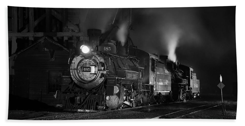 Steam Train Photographs Beach Towel featuring the photograph Our Best Side Black And White by Ken Smith