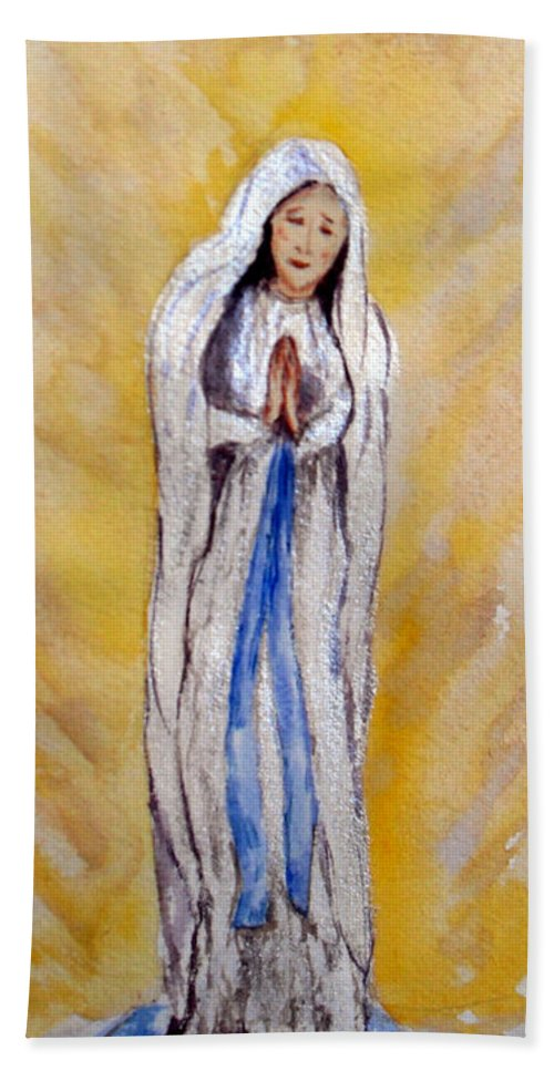 Our Lady Of Lourdes Beach Towel featuring the painting Our Lady Of Lourdes by Vicki Housel