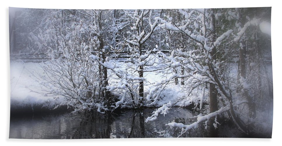 Snow Beach Towel featuring the photograph Our Pond In The Snow by Travis Truelove
