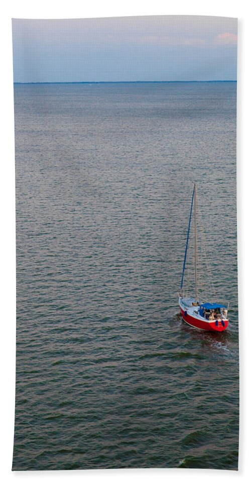 Boat Beach Towel featuring the photograph Out To Sea by Chad Dutson