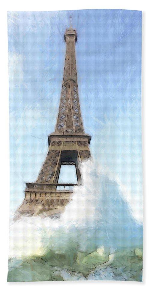 Ark Noah Flood Water High Tide Eifelturm Eiffel Tower Tour France Paris Wave Waves Painting Apocalypse Deluge Sinnflut Storm Water Atlantic Sea Ocean Judgment Day Beach Towel featuring the painting Outside The Ark by Steve K