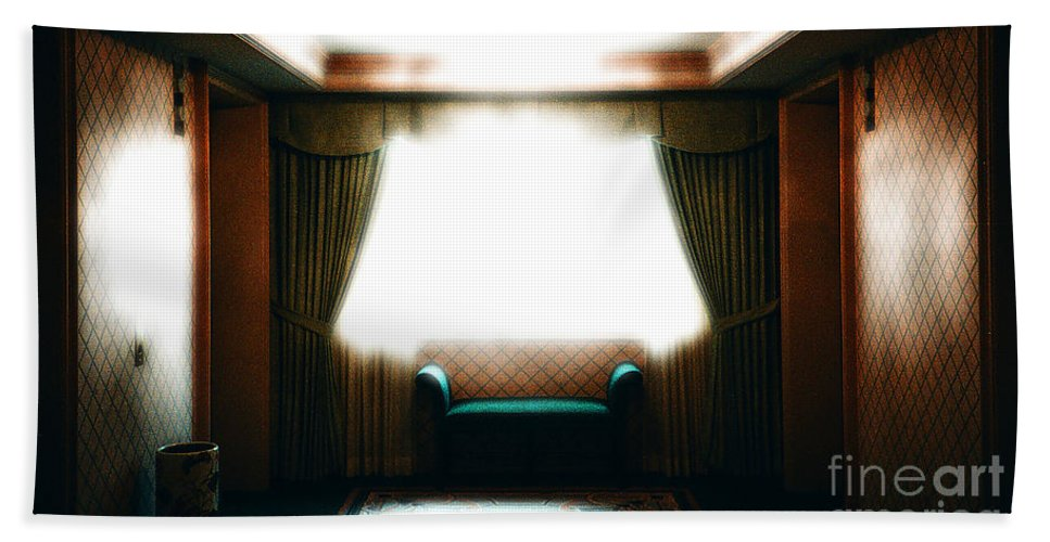 Hallway Beach Towel featuring the photograph Outside The Elevators by Mike Nellums