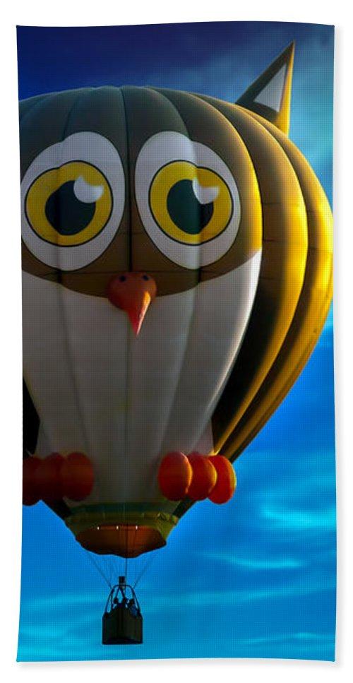 Owl Beach Towel featuring the photograph Owl Hot Air Balloon by Bob Orsillo