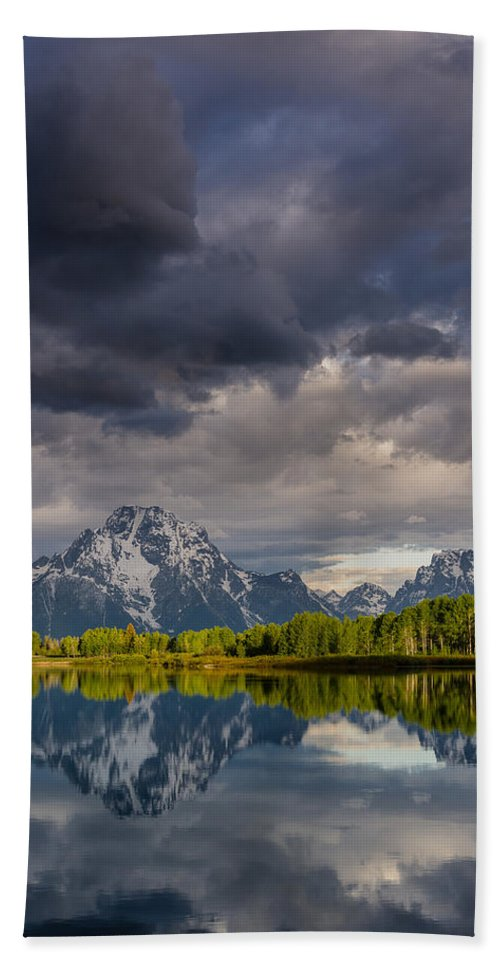 Grand Tetons National Park Beach Towel featuring the photograph Oxbow Light And Clouds by Greg Nyquist