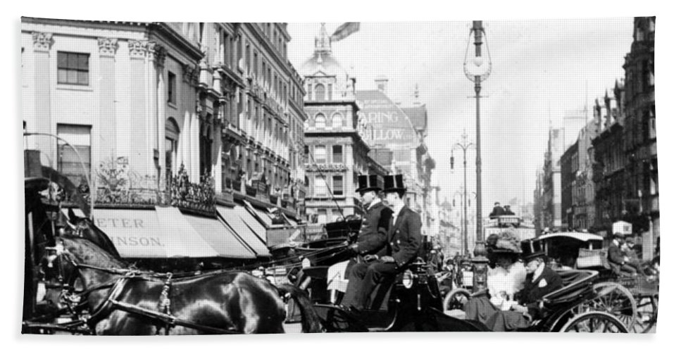 oxford Street Beach Towel featuring the photograph Oxford Street - London - England - C 1909 by International Images