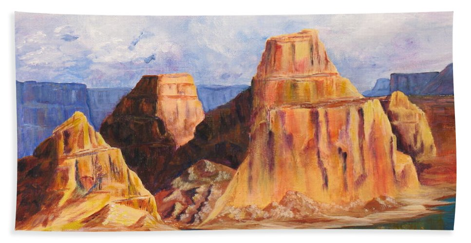 Landscape Beach Towel featuring the painting Padre Bay Lake Powell by Jennifer Hillman