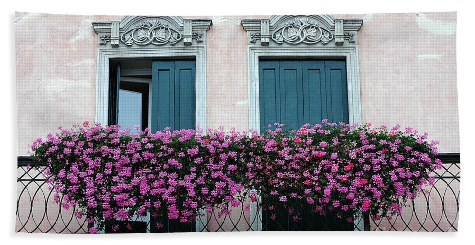 Padua Beach Towel featuring the photograph Padua Balcony And Window Boxes by Mike Nellums