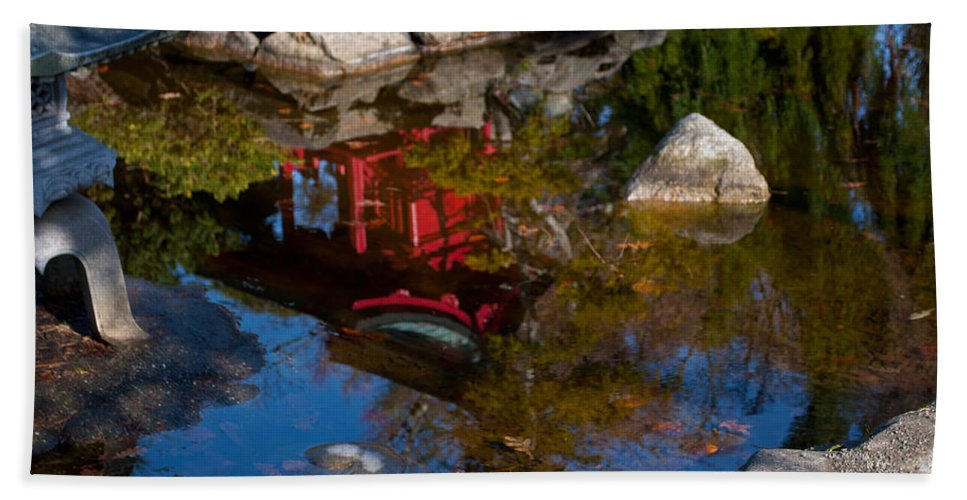 Pond Beach Towel featuring the photograph Pagoda Reflections by Tikvah's Hope