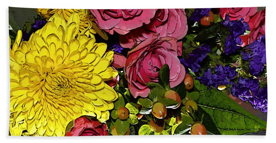 Flowers Beach Towel featuring the photograph Painted Bouquet by Phyllis Denton