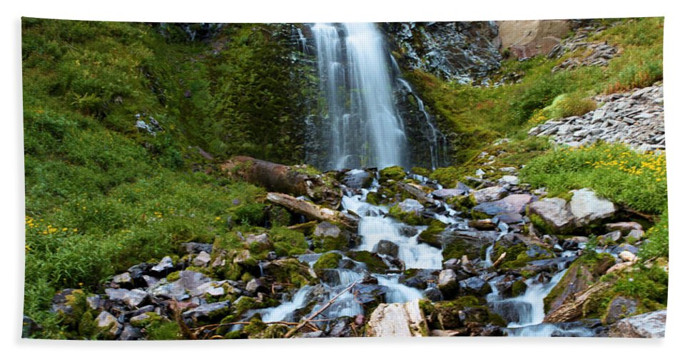 Waterfalls Beach Towel featuring the photograph Palaikni Falls Valley by Adam Jewell