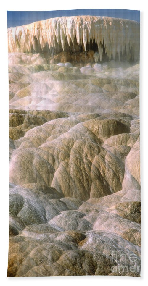 Yellowstone Beach Towel featuring the photograph Palette Spring In Mammoth Hot Springs by Sandra Bronstein