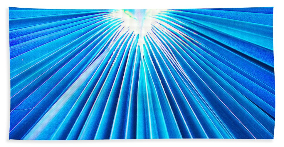 Roena King Beach Towel featuring the photograph Palm Frond In Blue by Roena King