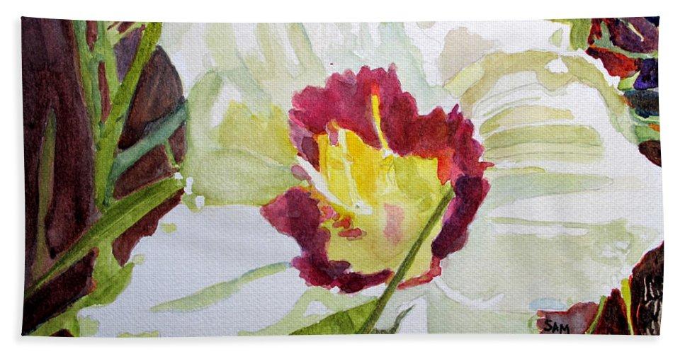 Pandora Beach Towel featuring the painting Pandora's Box by Sandy McIntire