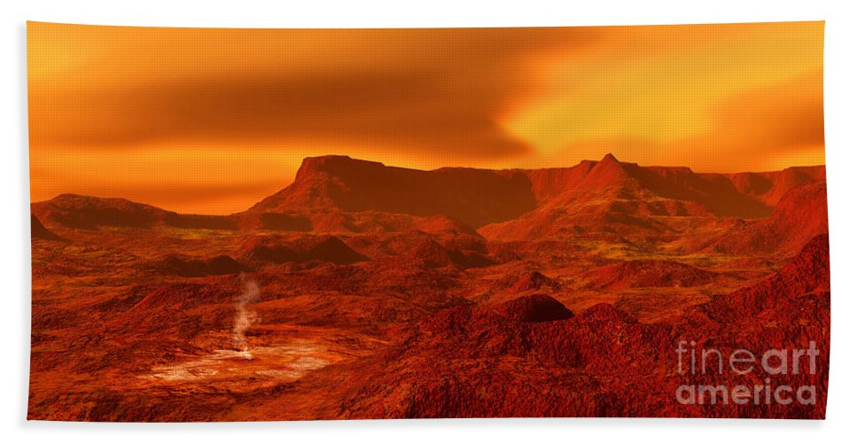 Color Image Beach Towel featuring the digital art Panorama Of A Landscape On Venus At 700 by Ron Miller
