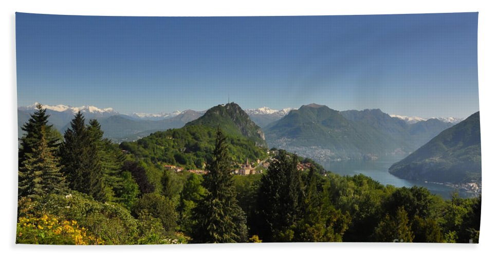 Panorama Beach Towel featuring the photograph Panorama View Over Mountain by Mats Silvan