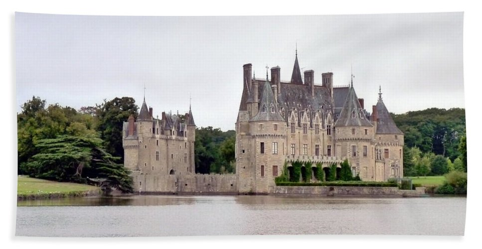 Chateau Beach Towel featuring the photograph Panoramic View Of Chateau De La Bretesche by Carla Parris