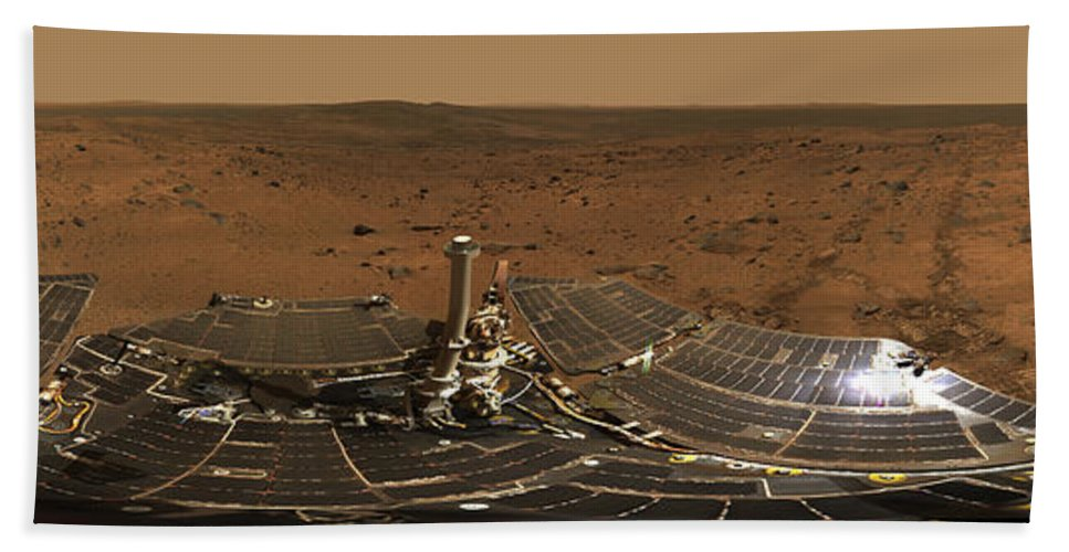 Color Image Beach Towel featuring the photograph Panoramic View Of Mars by Stocktrek Images