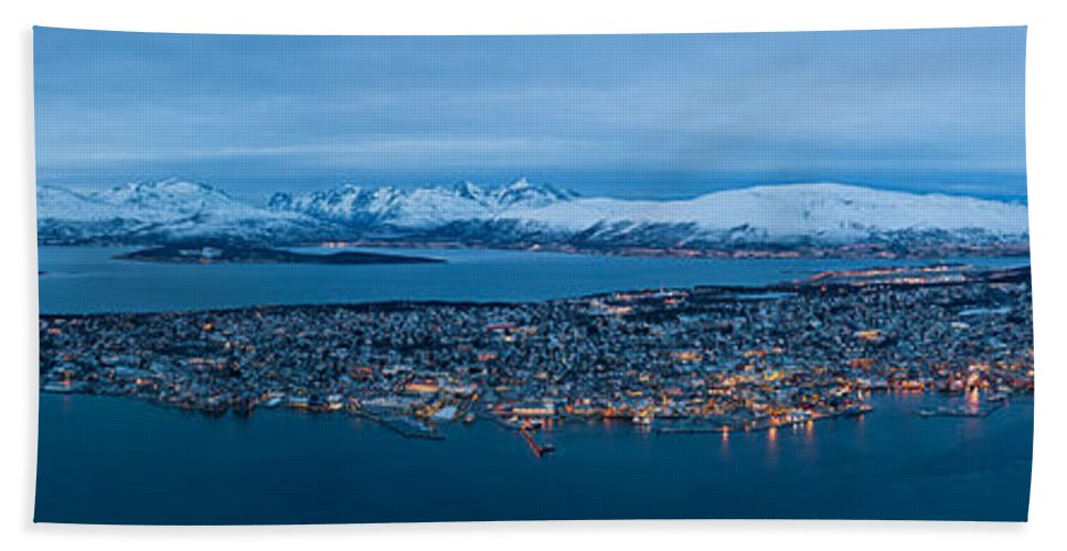 Architecture Beach Towel featuring the photograph Panoramic View Of Tromso In Norway by U Schade