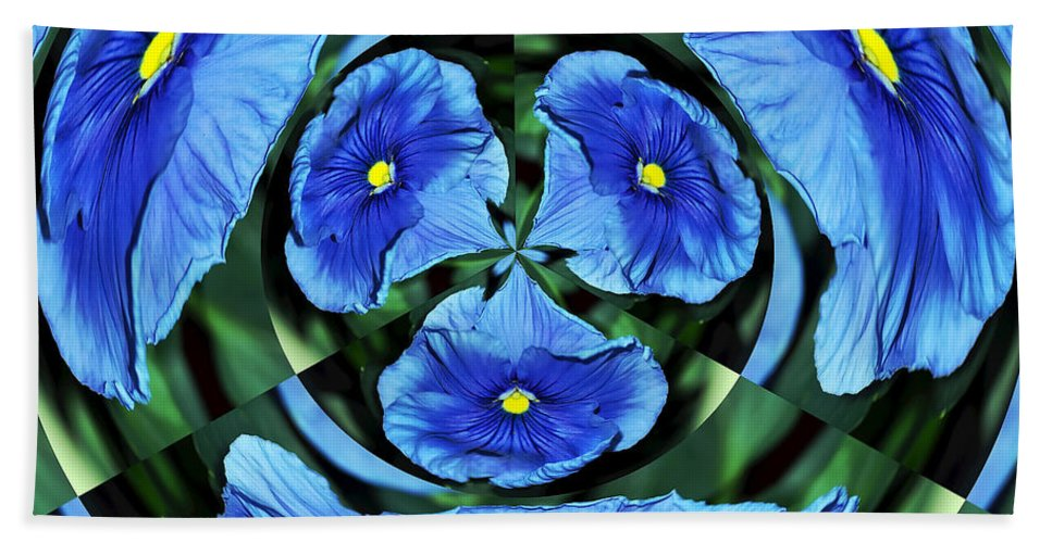 Photography Beach Towel featuring the photograph Pansy In Triplicate by Kaye Menner
