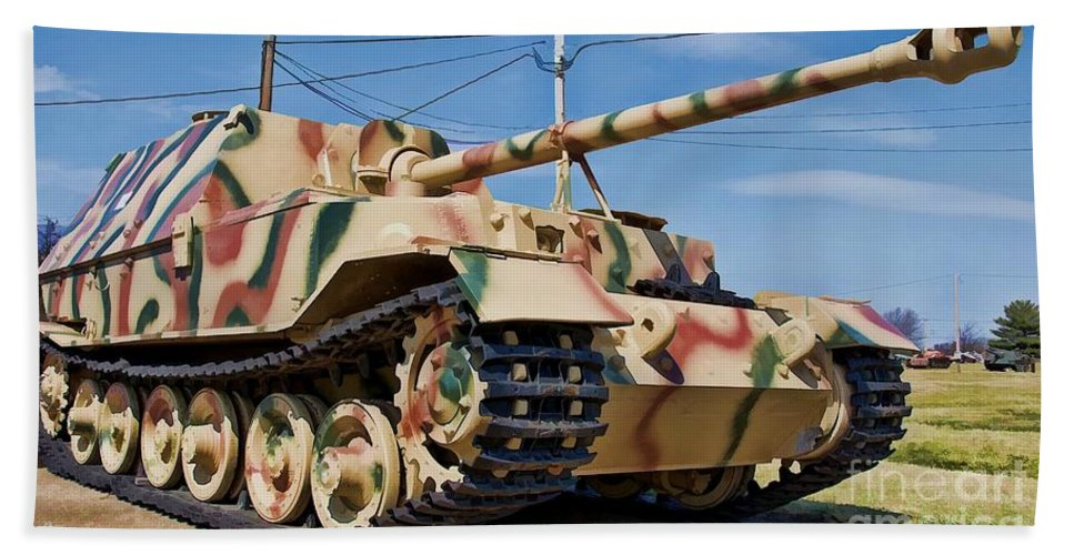 German Beach Towel featuring the photograph Panzerjager Elefant by Tommy Anderson