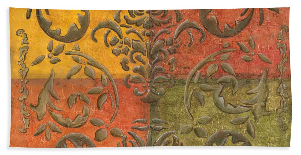 Transitional Beach Towel featuring the painting Paprika Scroll by Debbie DeWitt