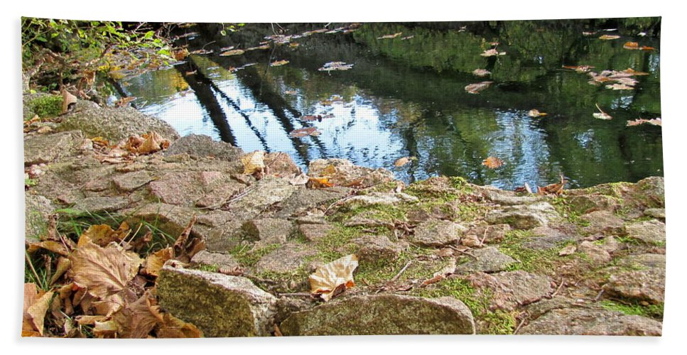 Water Beach Towel featuring the photograph Paradise Springs Stone Wall by Anita Burgermeister