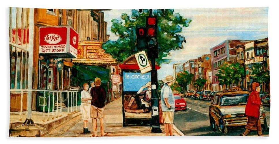 Montreal Beach Towel featuring the painting Park Avenue And Bernard Montreal City Scene by Carole Spandau