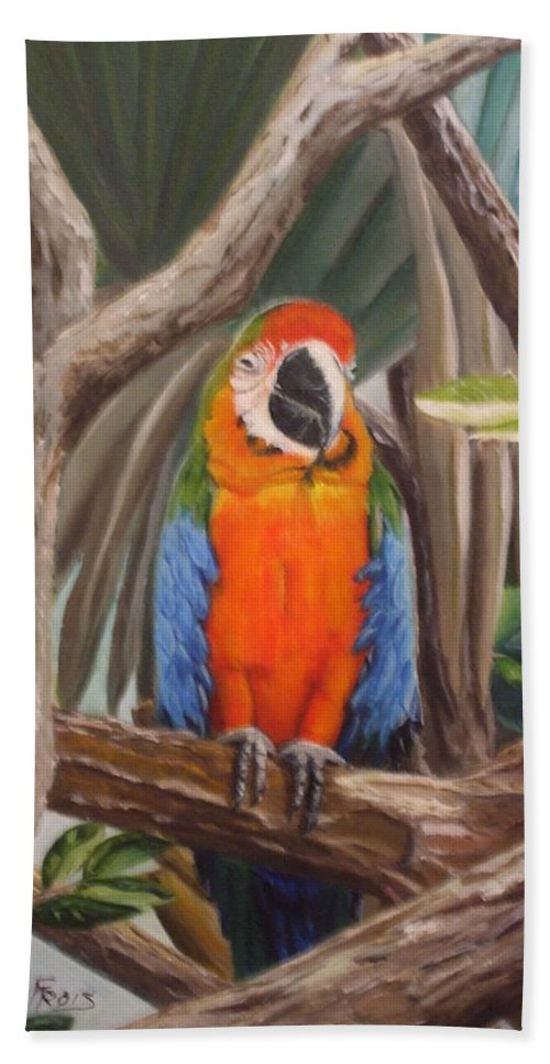 New Orleans Parrot Beach Towel featuring the photograph Parrot At New Orleans Zoo by Evelyn Froisland